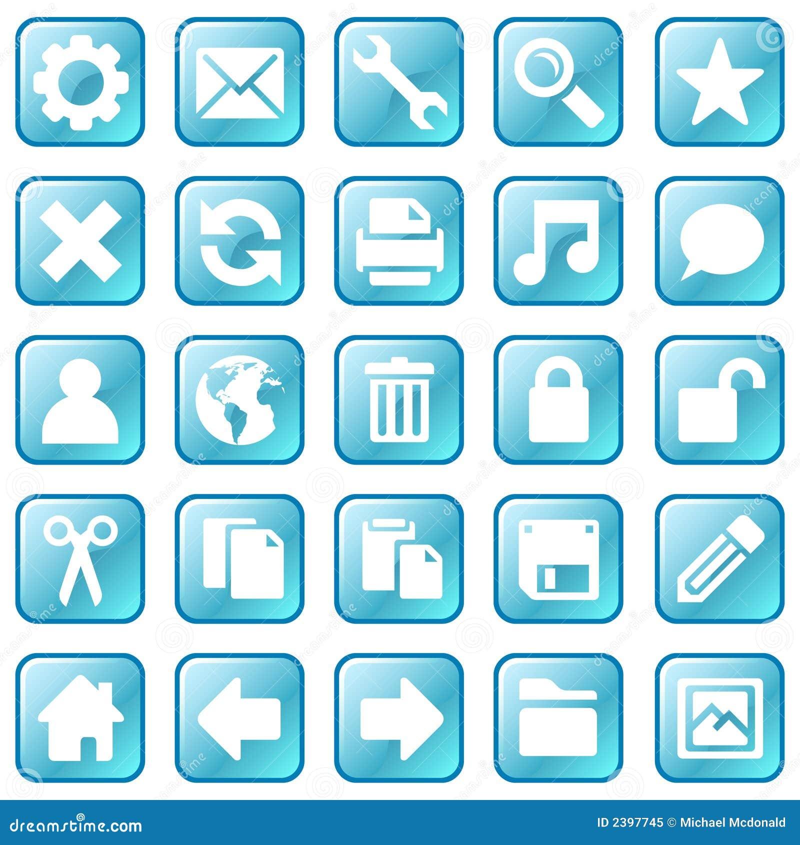 Ice Blue Icons Royalty Free Stock Image