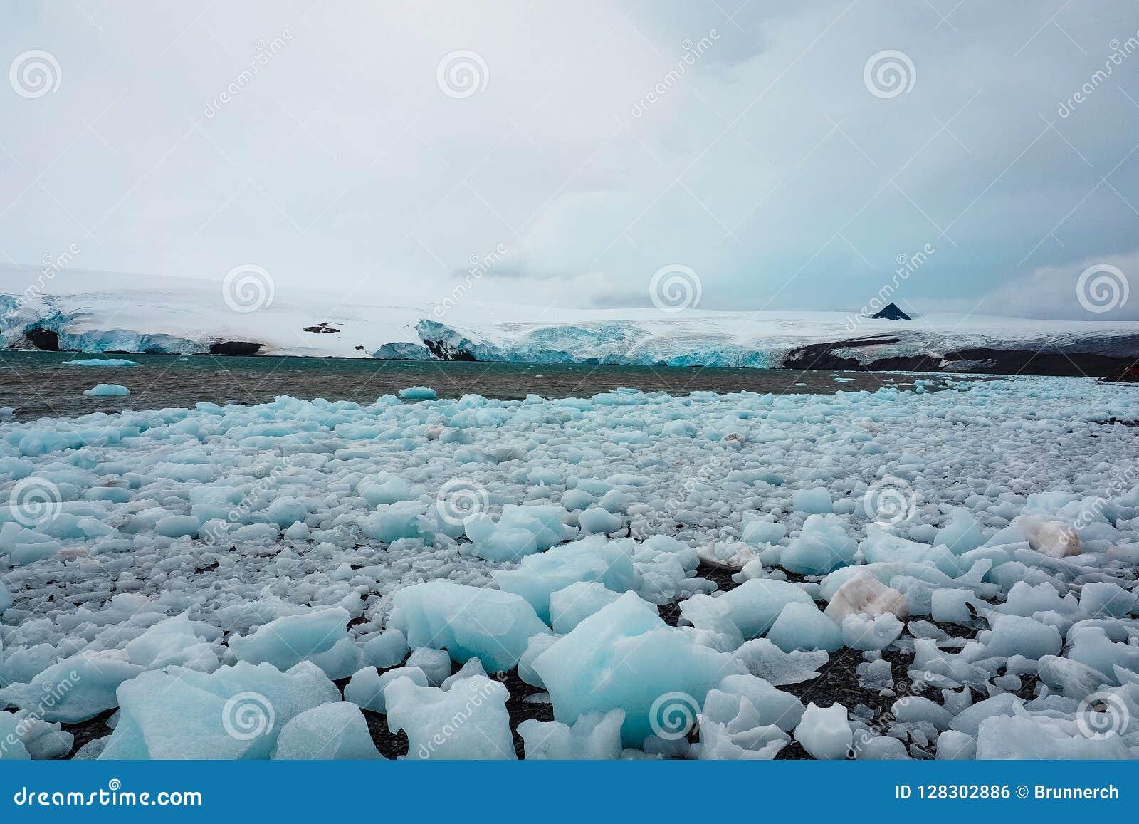 Ice boulders broken off from Antarctic glacier