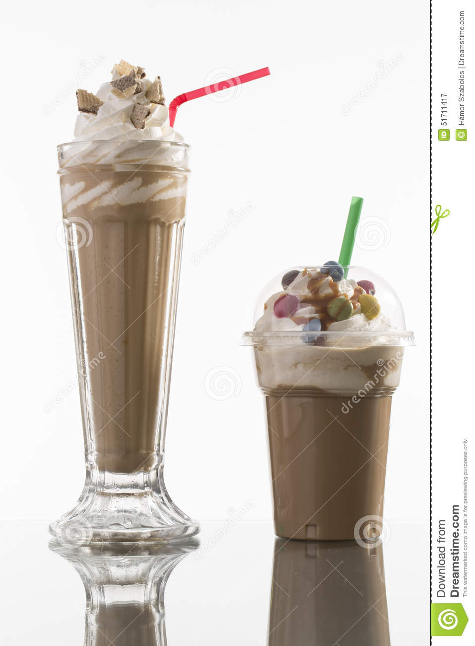 Ice caffe in glass and plastic takeaway cup, decorated