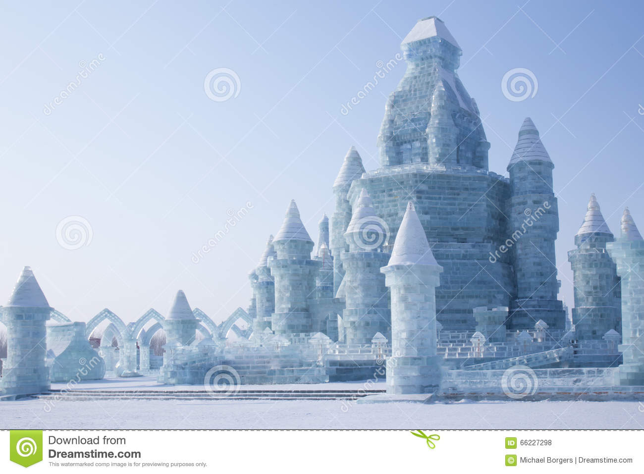 Ice castle in front of blue sky