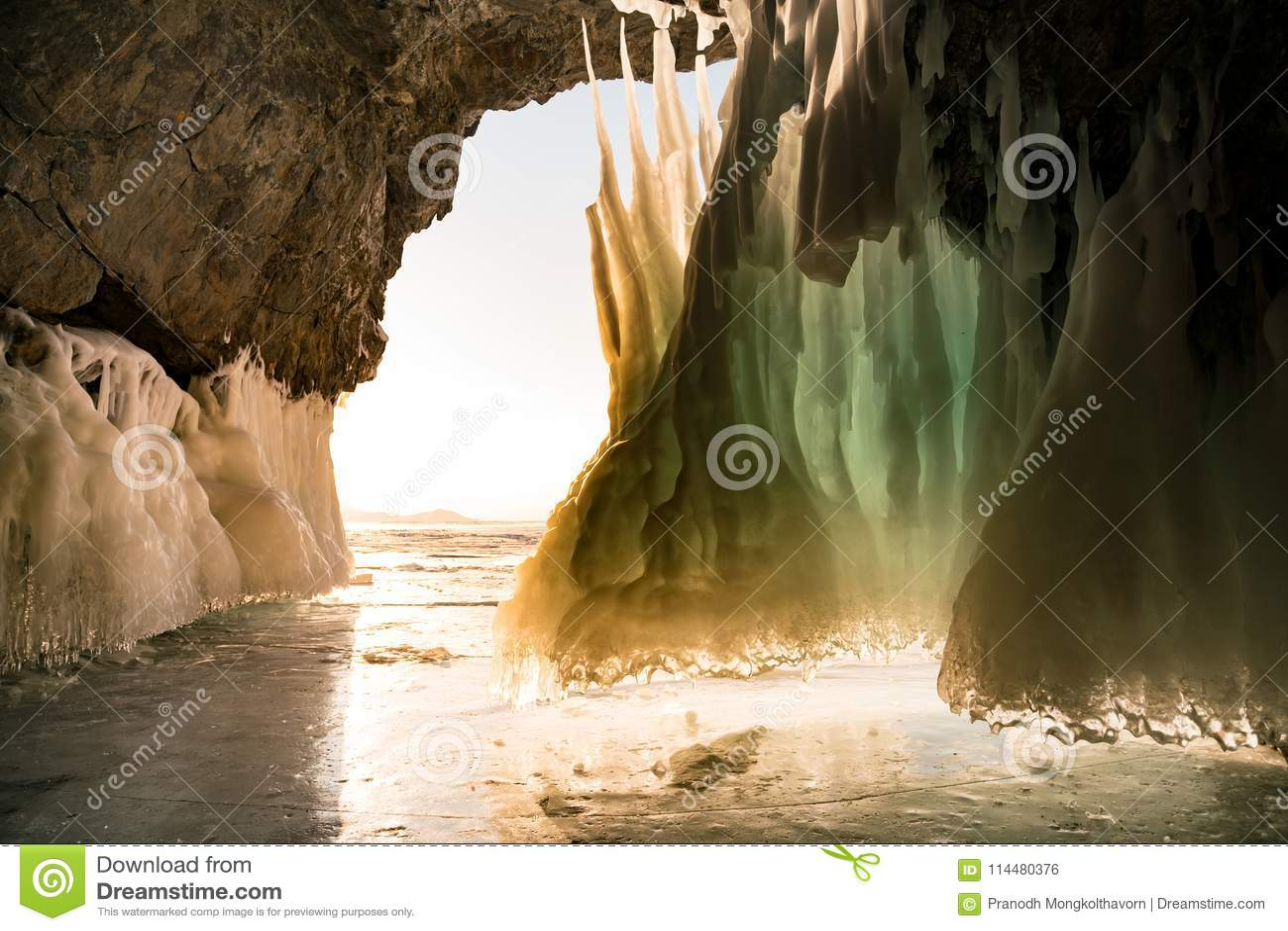 Ice cave in Baikal lake winter season