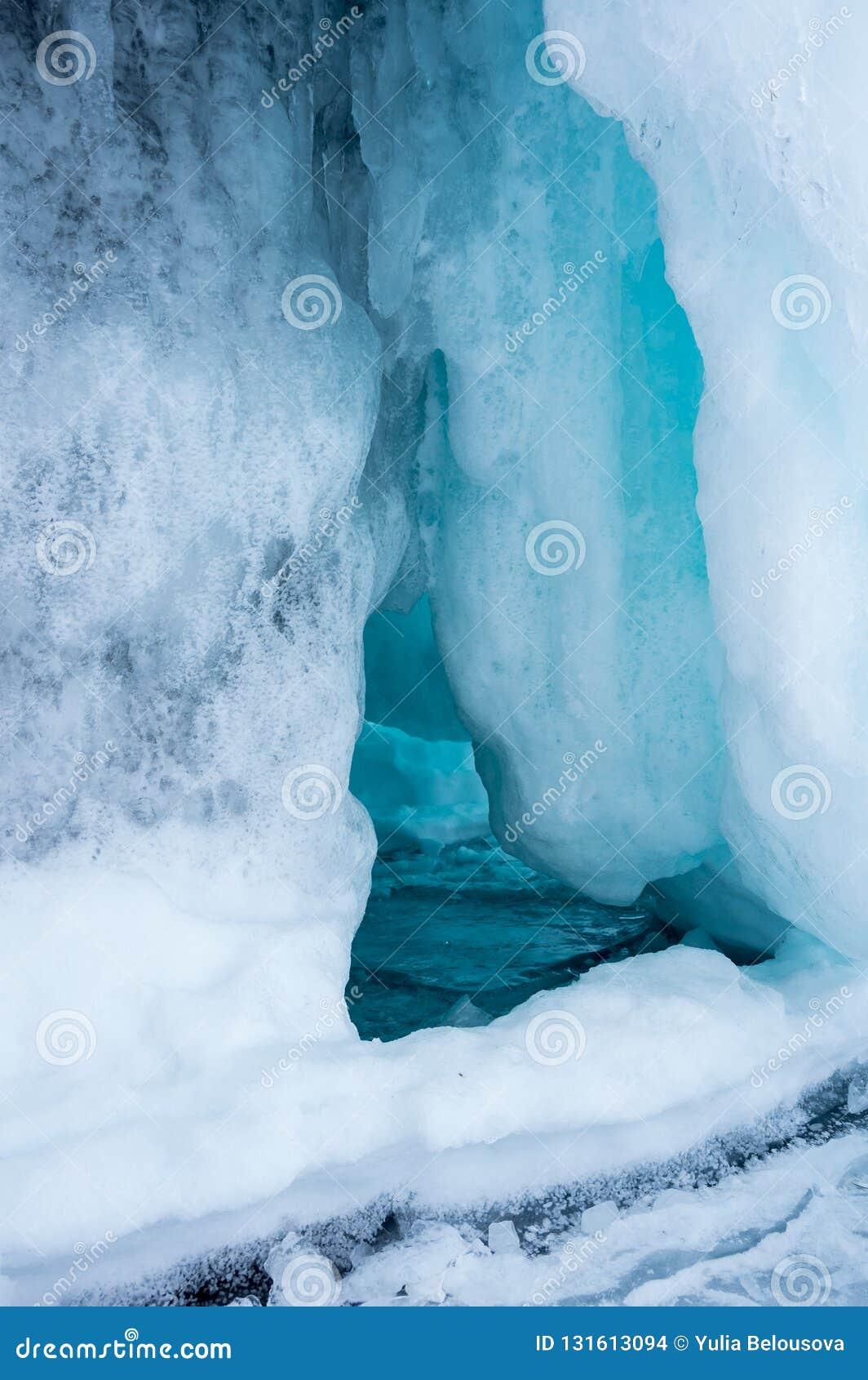 Ice cave on Olkhon Island at Baikal Lake