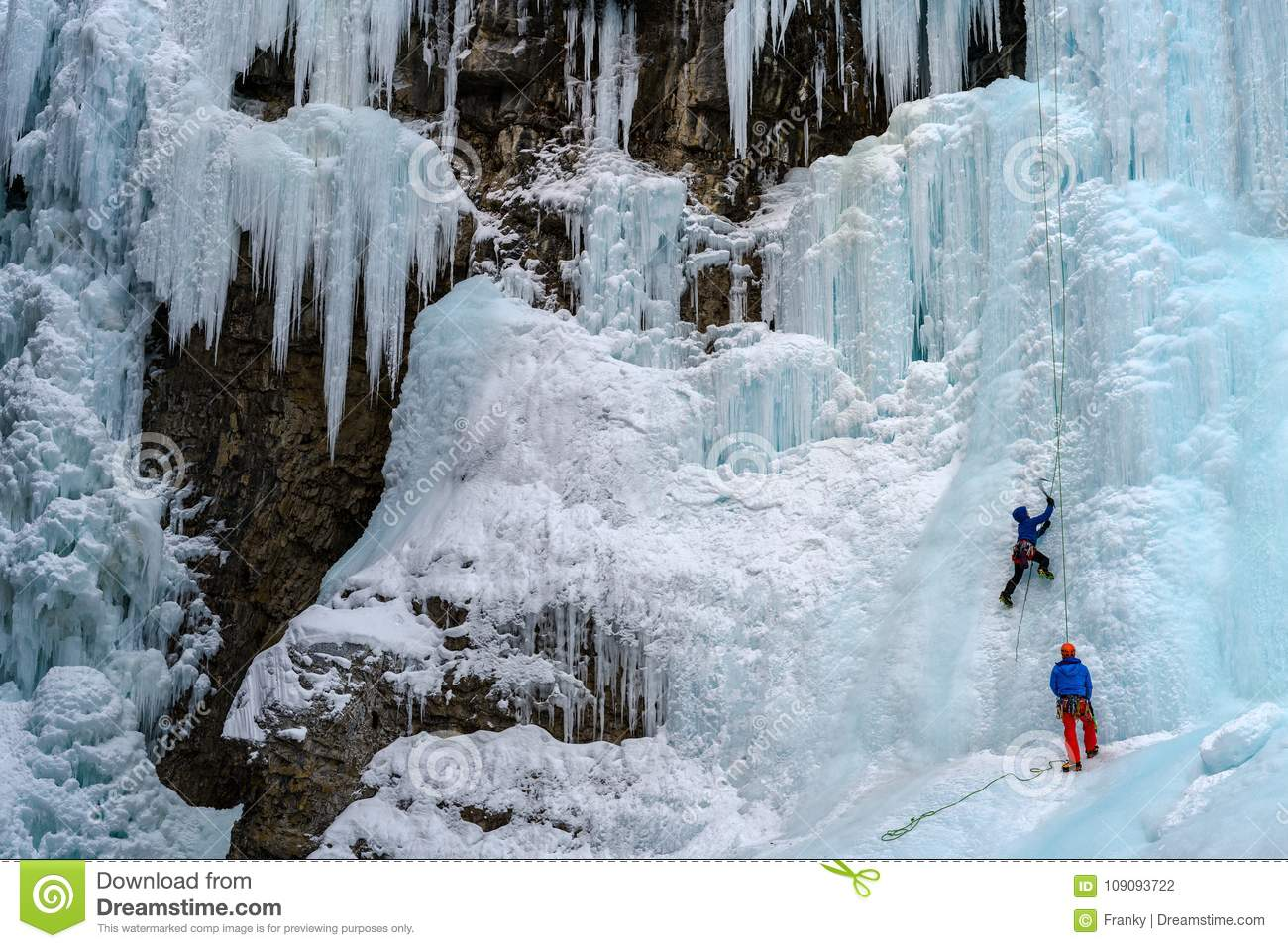 Ice Climbers on the frozen waterfalls in Johnston Canyon, Banff