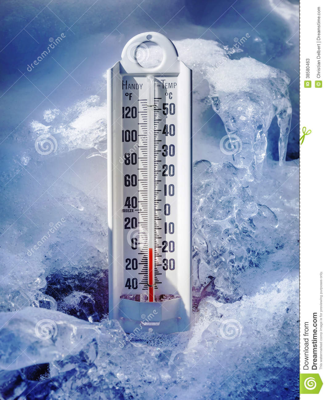 Ice Cold Thermometer In Ice And Snow Stock Photos - Image: 38580463