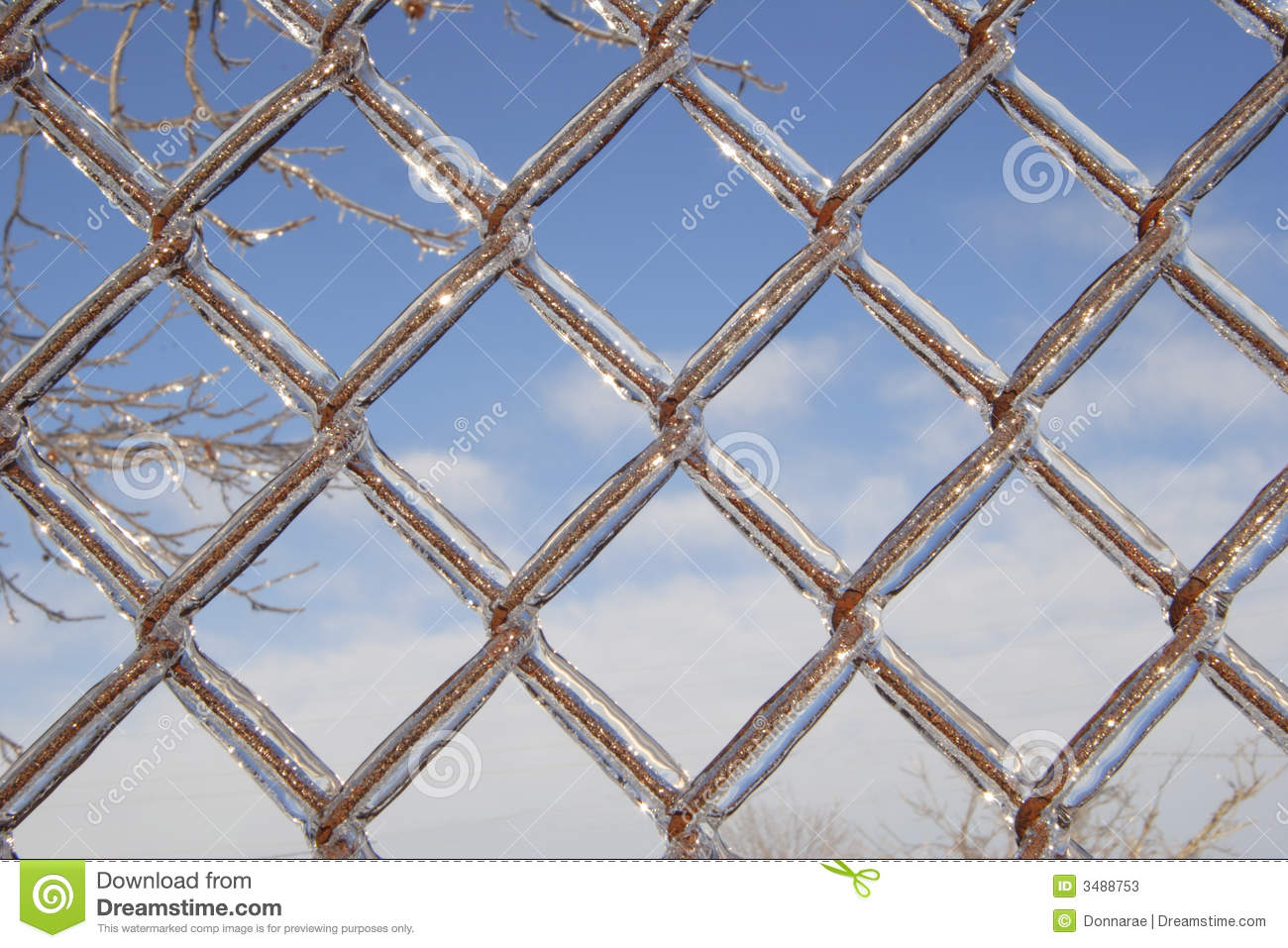 Ice covered chain link fence stock image image 3488753 for Chain link fence planner