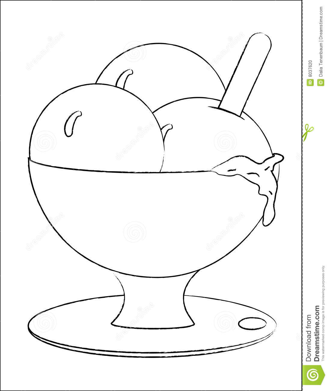 Ice cream in a bowl stock vector. Illustration of doodle - 8037620 for Bowl Of Ice Cream Clipart Black And White  56bof
