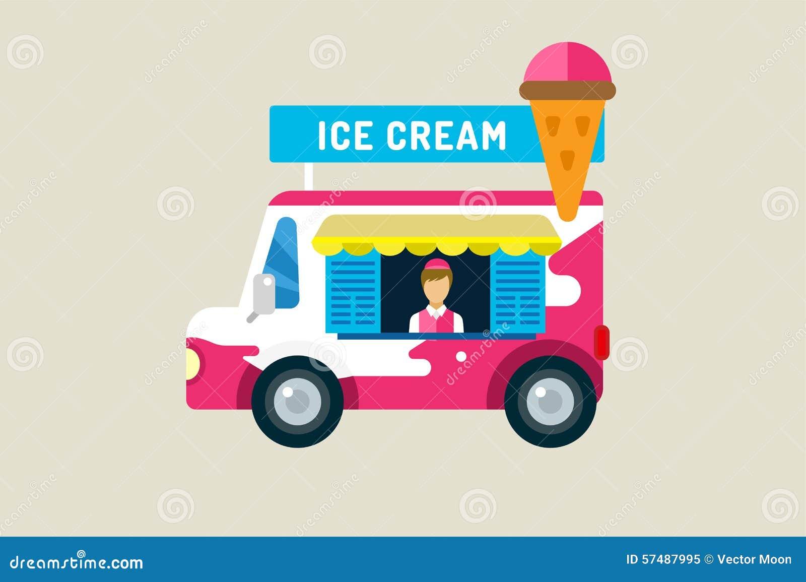 Ice Cream Car Icon Cold Milk Product Vanilla Stock