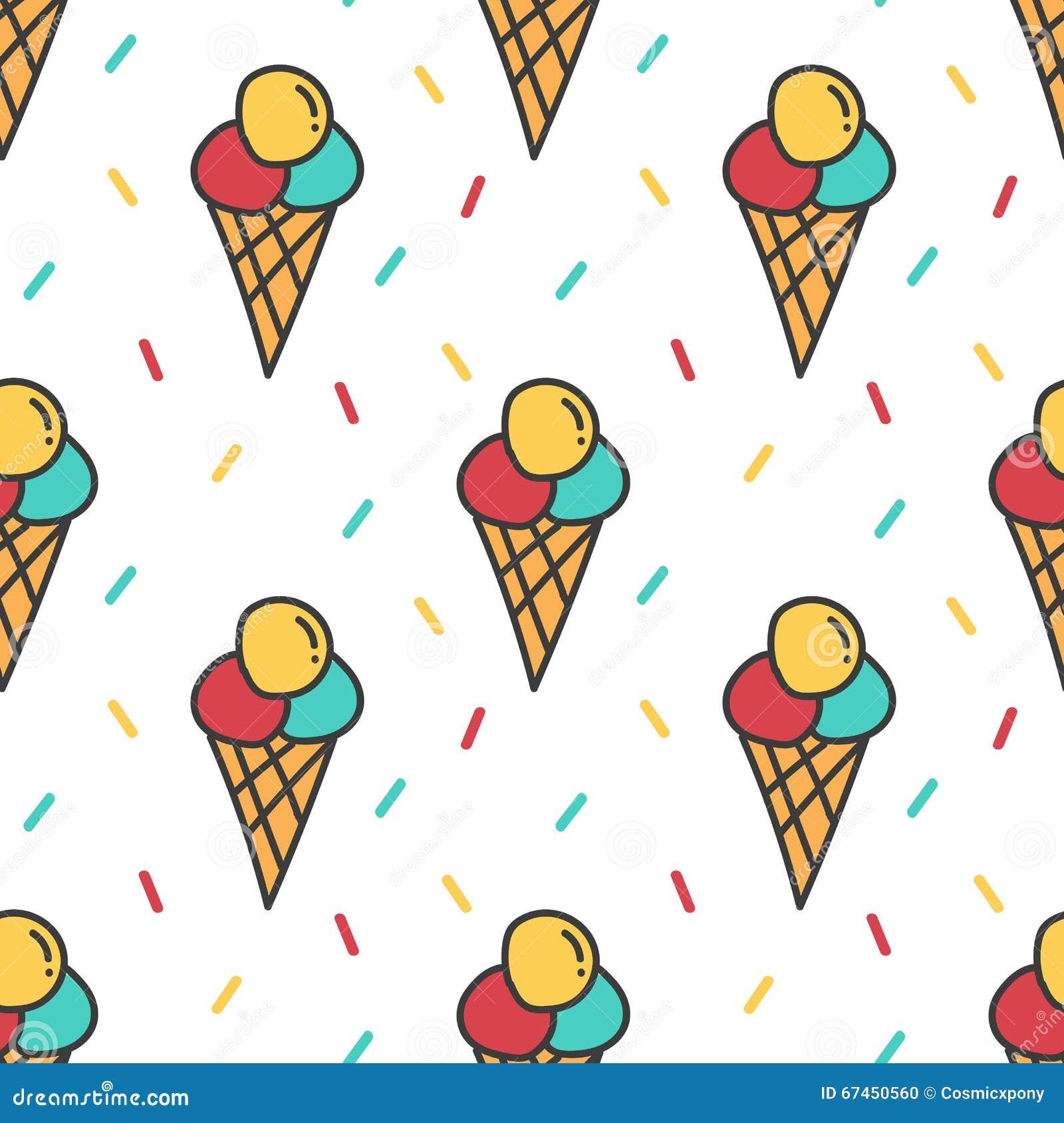 Cute Colorful Ice Cream Seamless Pattern Background: Ice Cream And Colorful Confetti Seamless Pattern