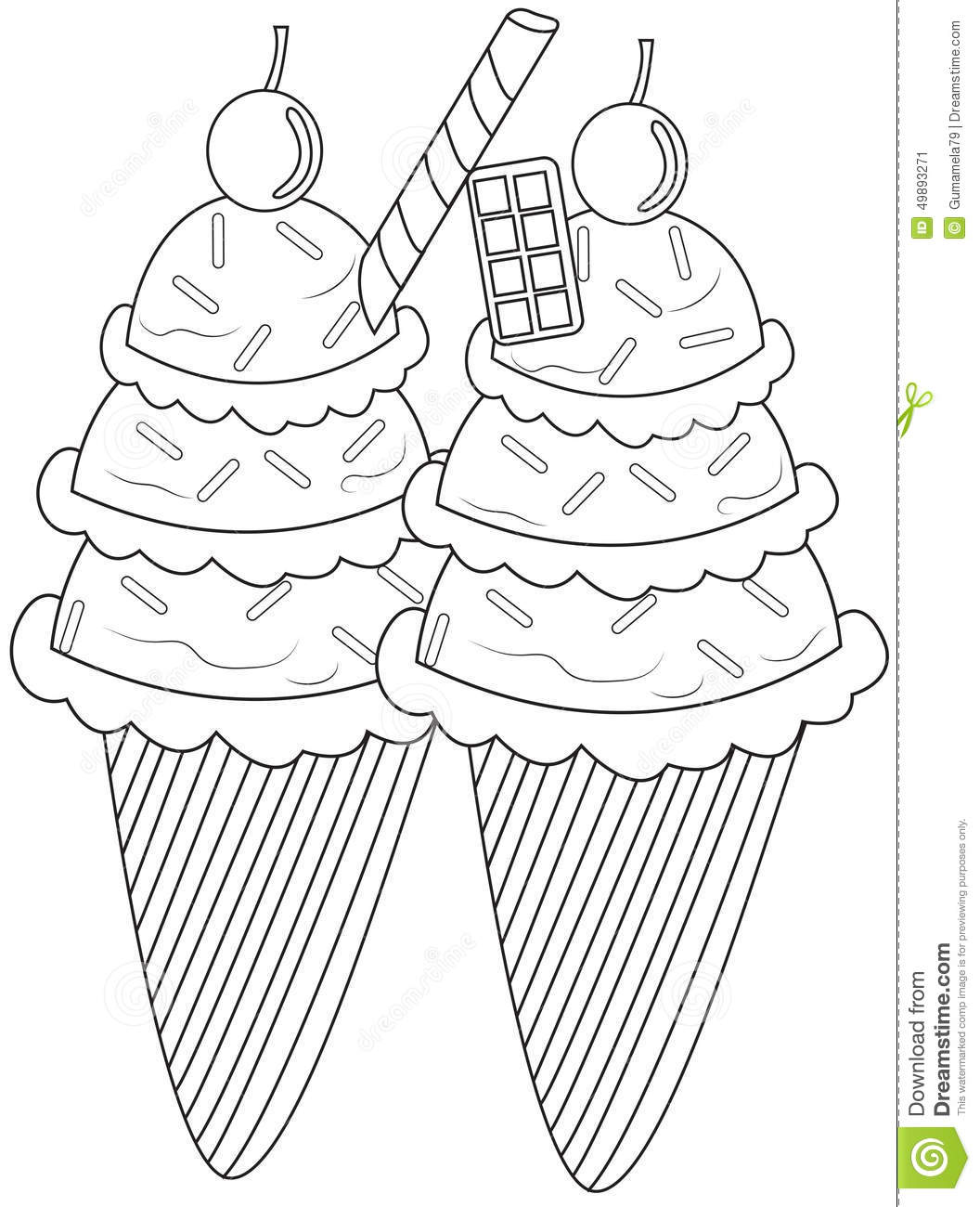 Ice cream coloring page stock illustration. Illustration of candies ...