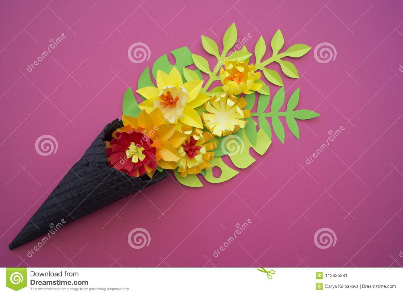 Beautiful flower in ice cream cone on pink background stock image ice cream cone with flowers and leaves on pink background flat lay craft paper flower mightylinksfo