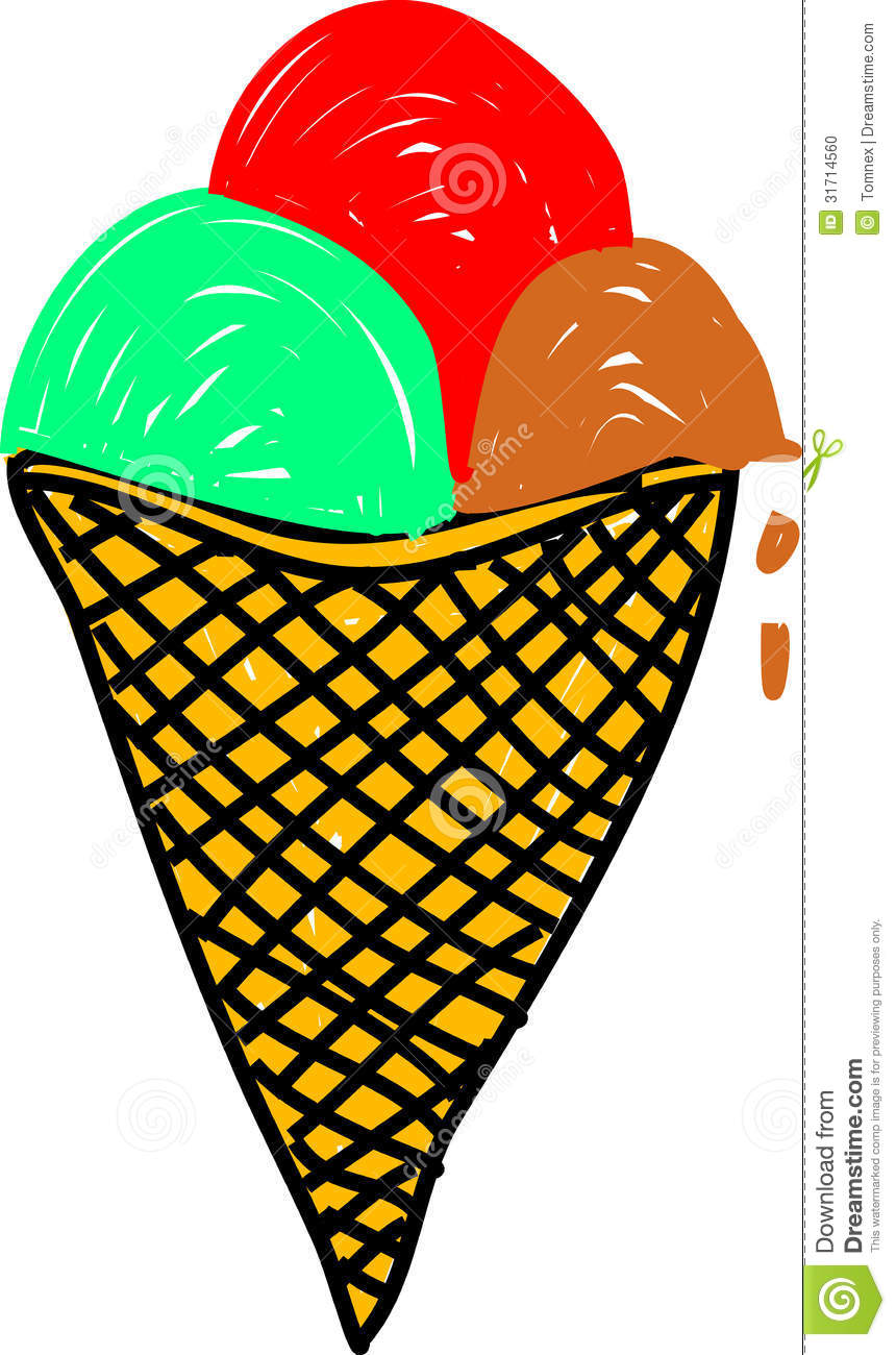 Hand drawn ice cream cone ever so slightly melting away. For food and ...