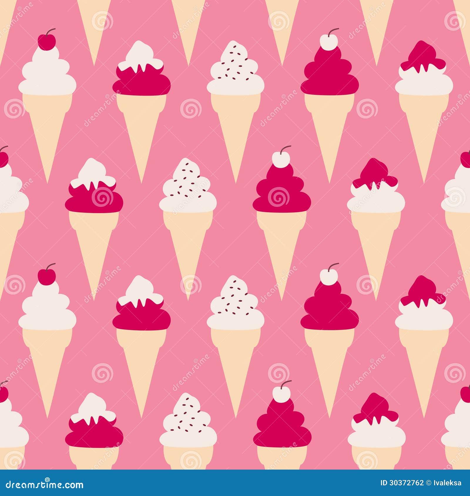 Seamless Ice Cream Background Vintage Style: Ice Cream Cones Background Stock Photography