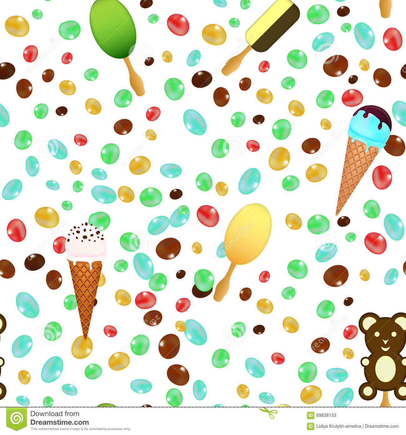 Ice Cream Cones Seamless Pattern Background Stock Vector: Ice Cream Cones Seamless Pattern Background With Candies