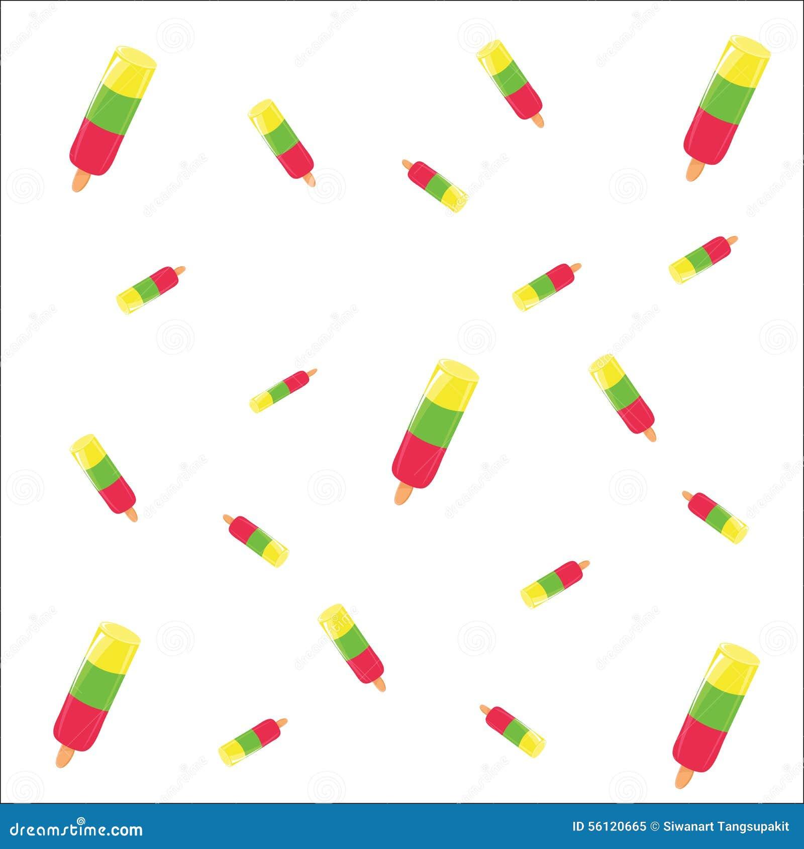 Ice Cream Cones Seamless Pattern Background Stock Vector