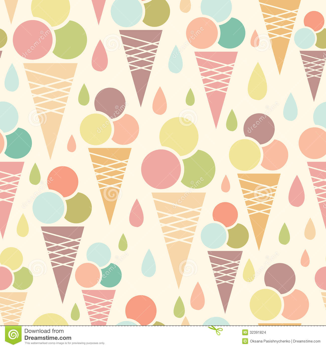 Ice Cream Cones Background Royalty Free Vector Image: Ice Cream Cones Seamless Pattern Background Stock Images