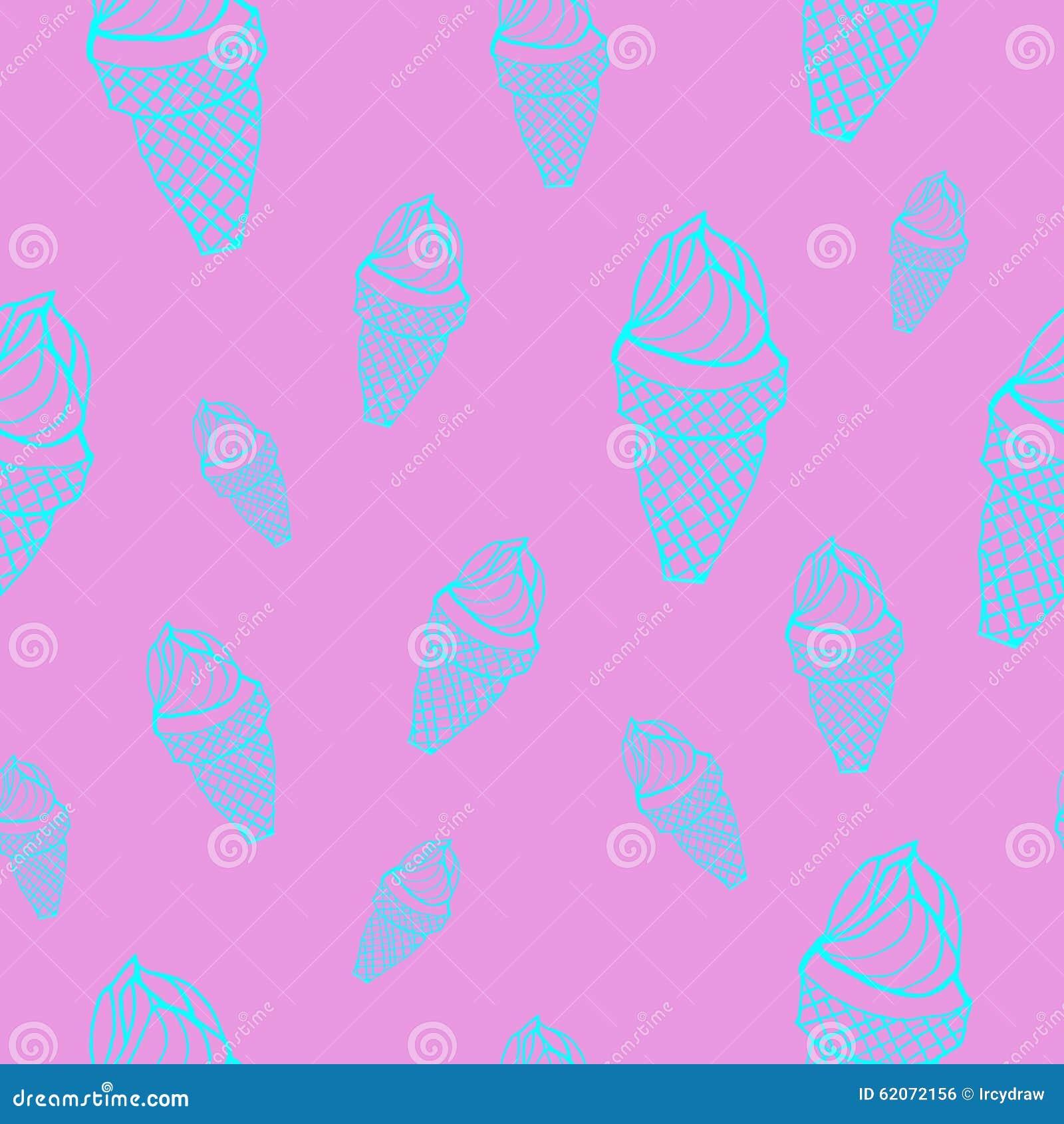 Seamless Ice Cream Background: Ice Cream Cones Seamless Vector Pattern Stock Vector