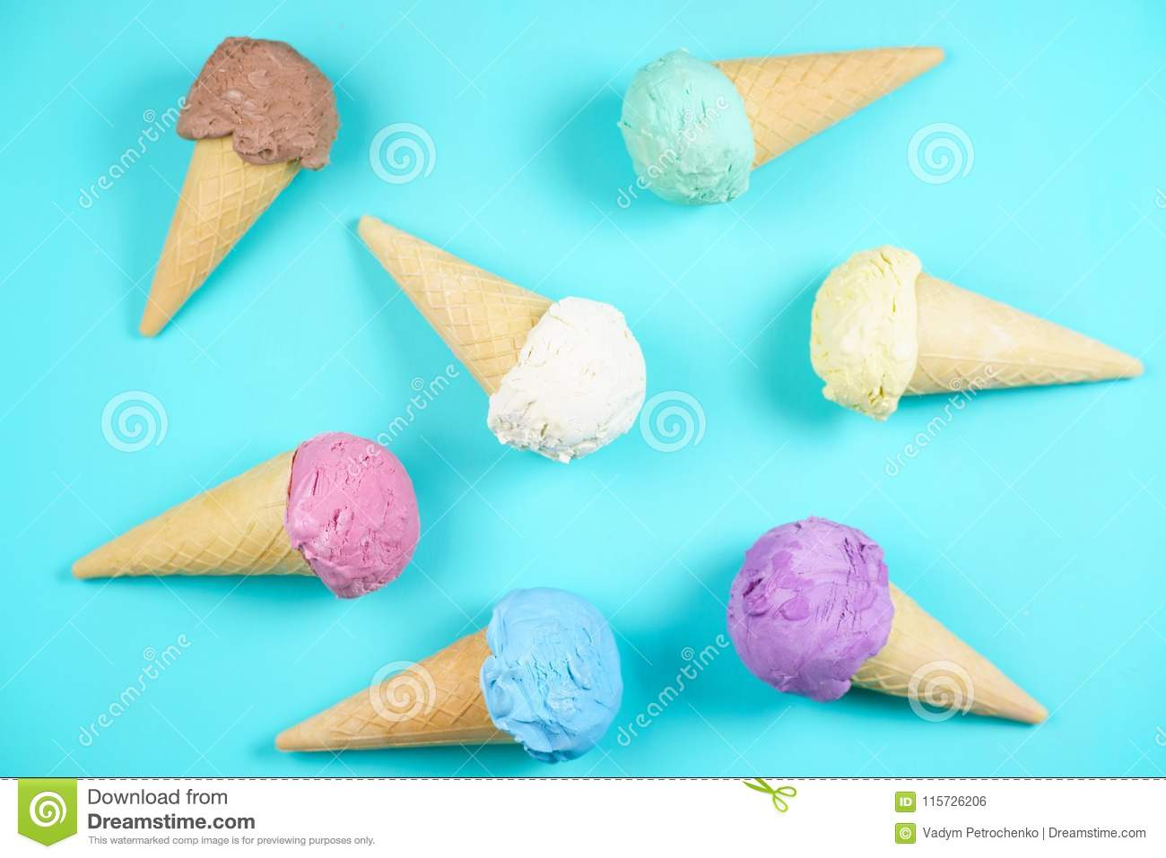 Download Ice Cream Cones On Table,flat Lay. Food Background Stock Photo - Image of multicolored, dairy: 115726206