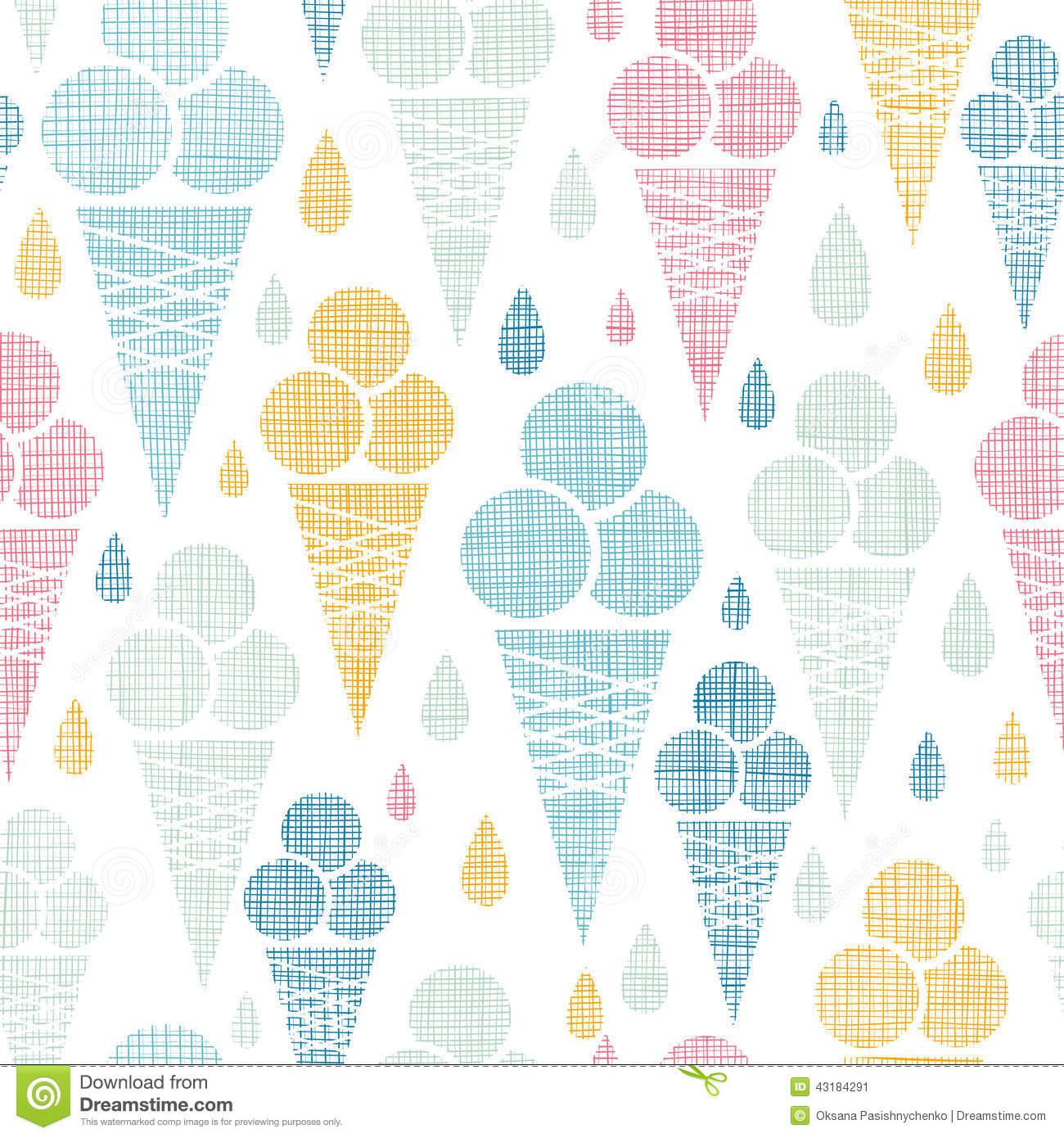 Ice Cream Cones Seamless Pattern Background Stock Vector: Ice Cream Cones Textile Colorful Seamless Pattern Stock