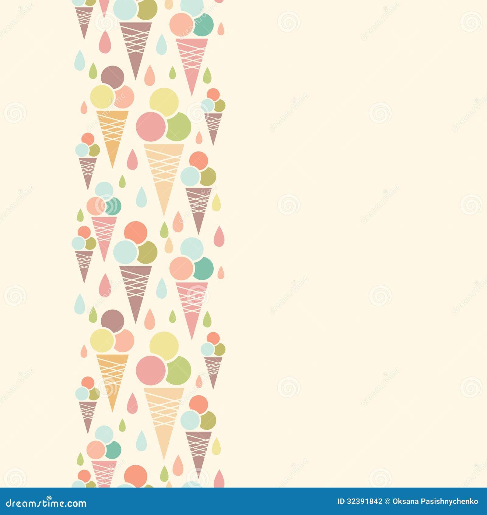 Ice Cream Cones Seamless Pattern Background Stock Vector: Ice Cream Cones Vertical Seamless Pattern Stock Vector