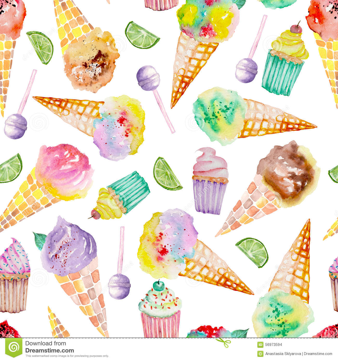Seamless Ice Cream Background Vintage Style: Ice Cream And Confection Pattern On A White Background