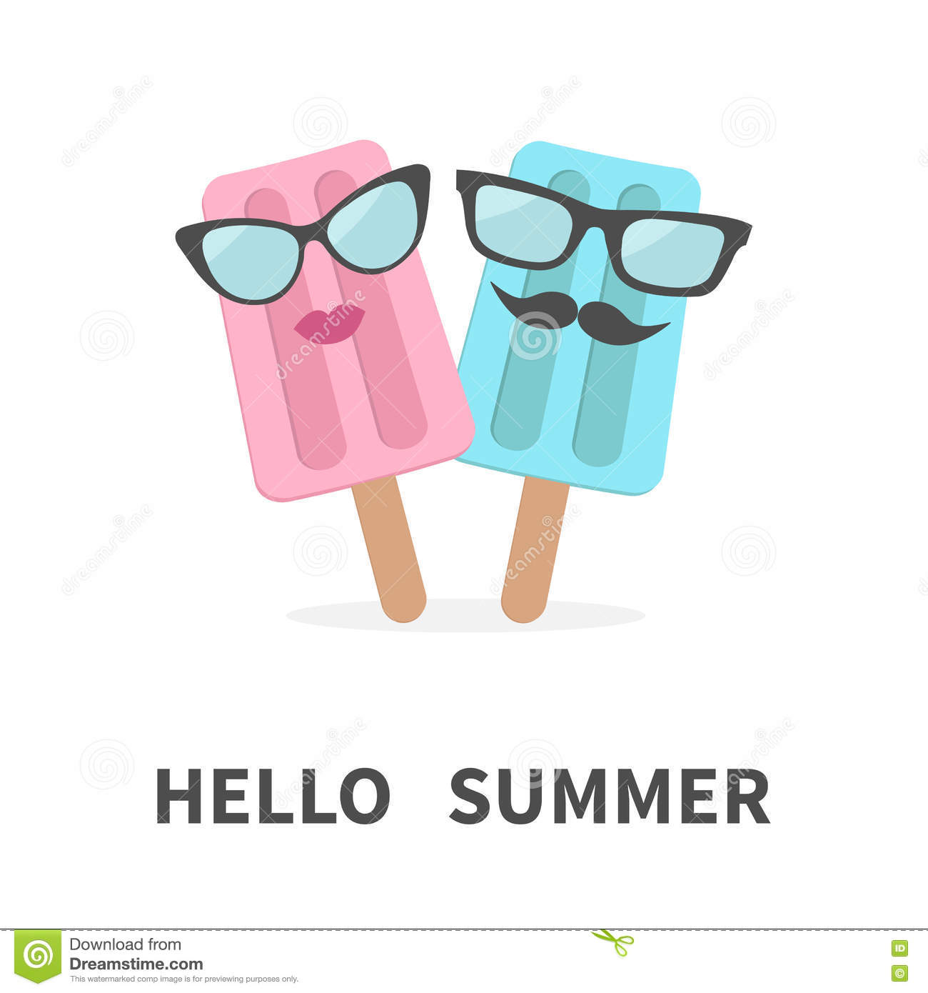 Fresh Ice Cream Stick In Summer Wallpaper Vector: Ice Cream Couple With Lips, Mustaches And Eyeglasses