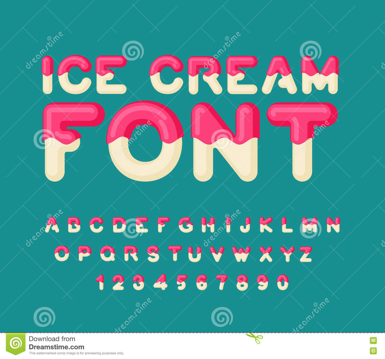ice cream font popsicle alphabet cold sweets abc food typogra stock vector illustration of