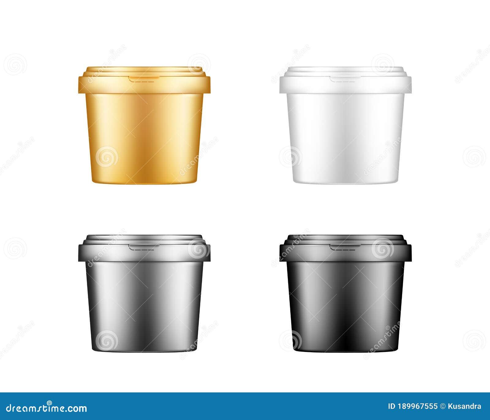 Ice Cream Mayonnaise Yogurt Or Paint Bucket With Cap Mockups Stock Vector Illustration Of Dessert Blank 189967555