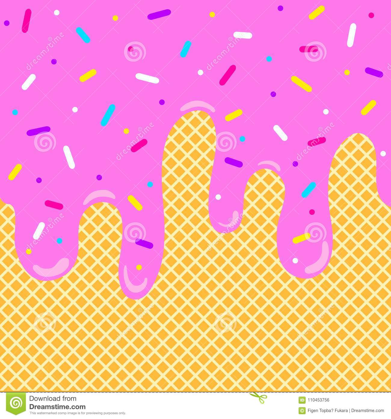 Ice Cream Melted Background With Sprinkles Stock Vector