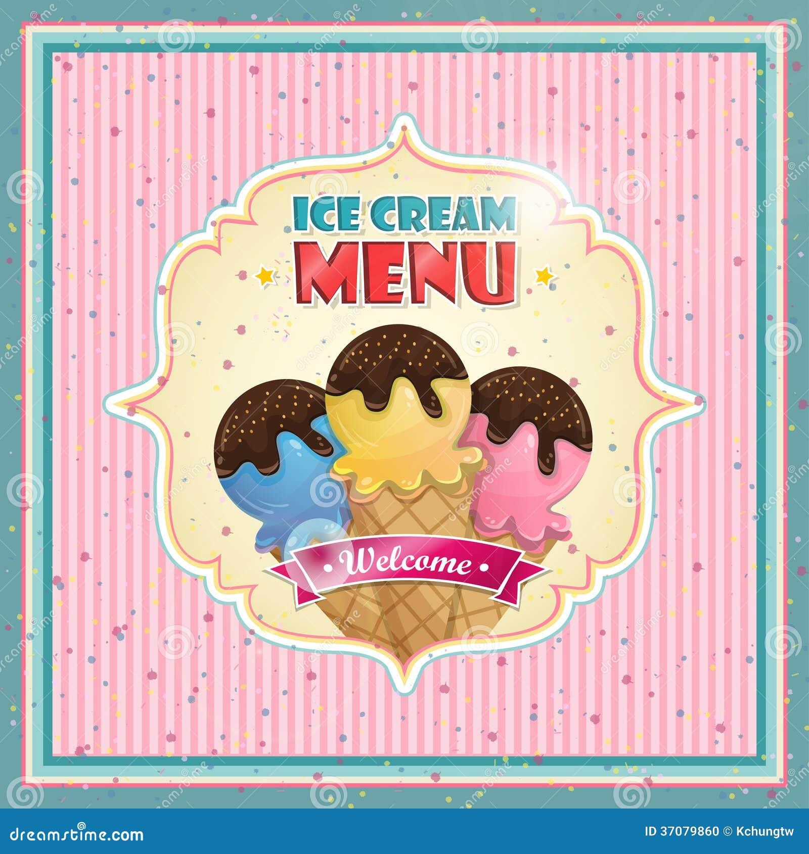 restaurant ice cream menu cover vector design template stock vector