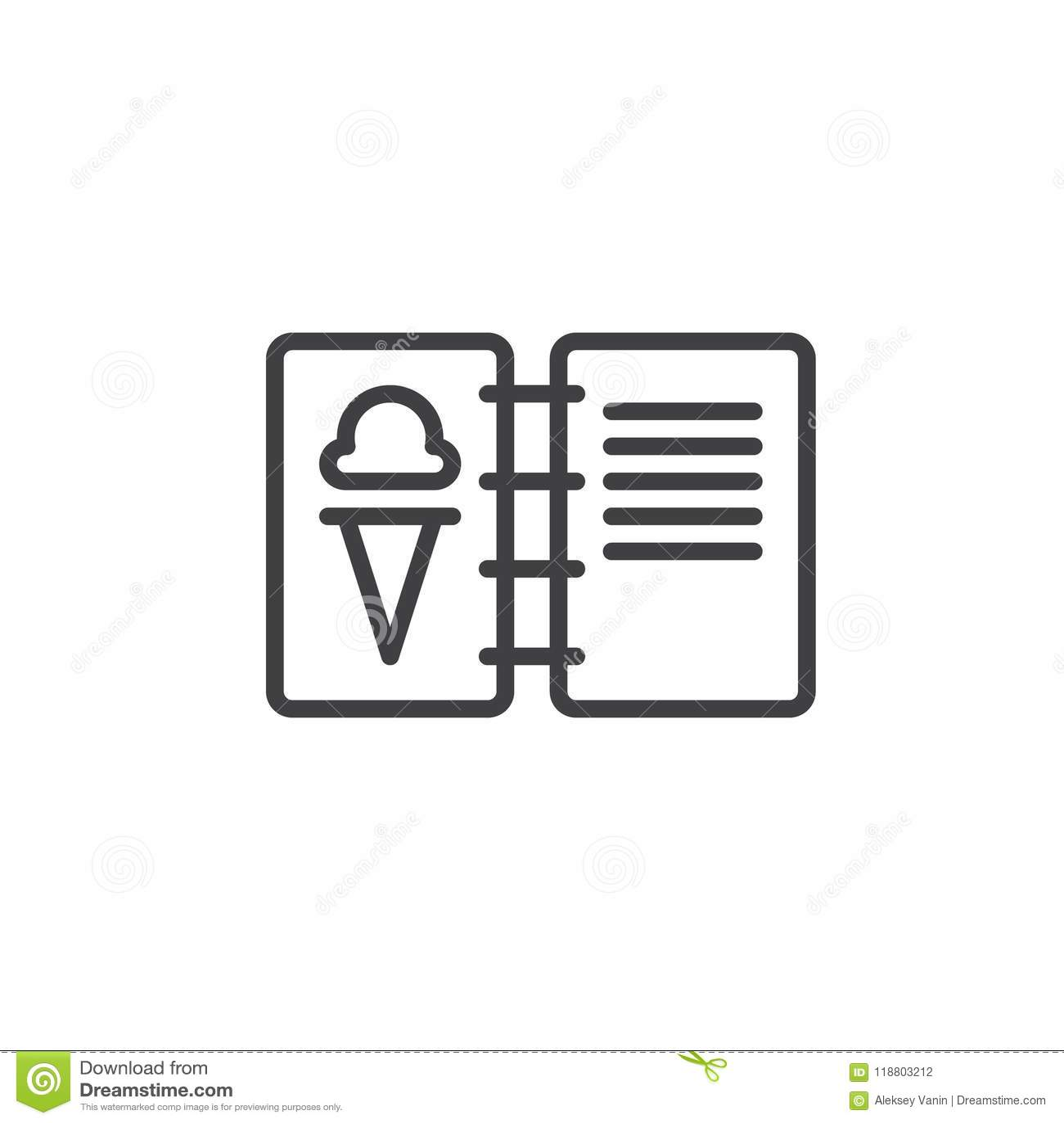 ice cream menu outline icon stock vector illustration of icon