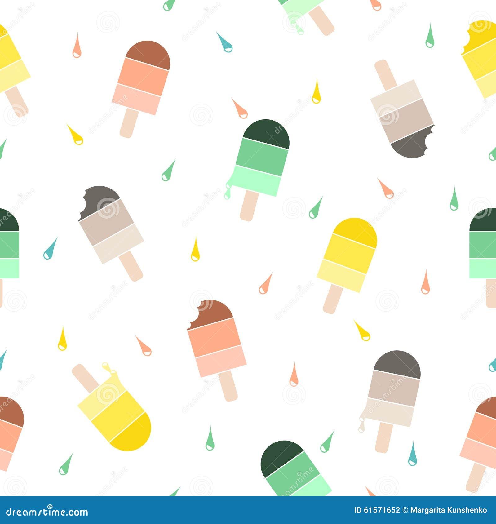 Cute Colorful Ice Cream Seamless Pattern Background: Ice Cream Pattern Background. Stock Vector