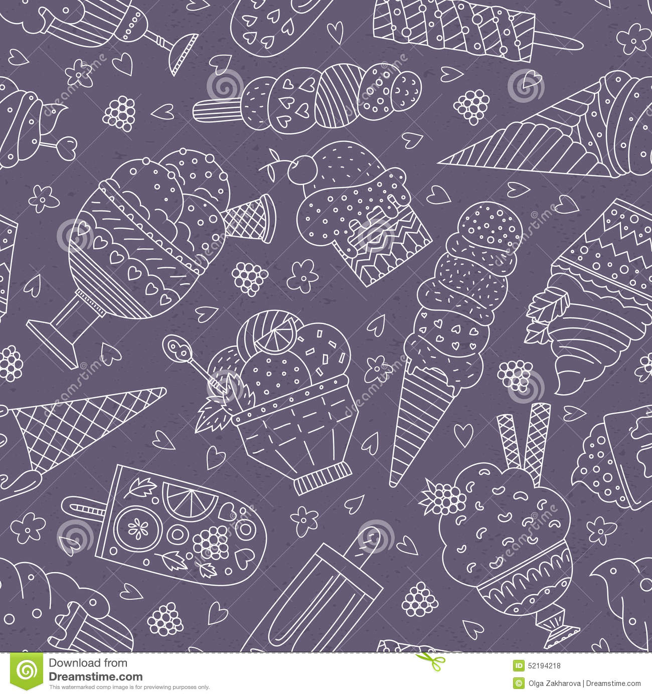 Seamless Pattern With Hand Drawn Watercolor Ice Cream: Ice Cream Pattern Stock Vector