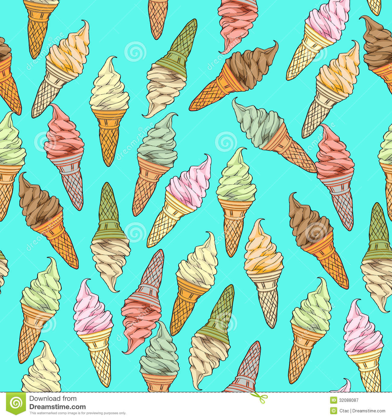 Seamless Pattern With Hand Drawn Watercolor Ice Cream: Ice Cream Pattern Royalty Free Stock Photography