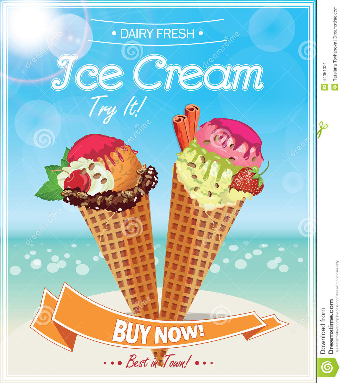Ice Cream Poster. Stock Vector - Image: 44351021