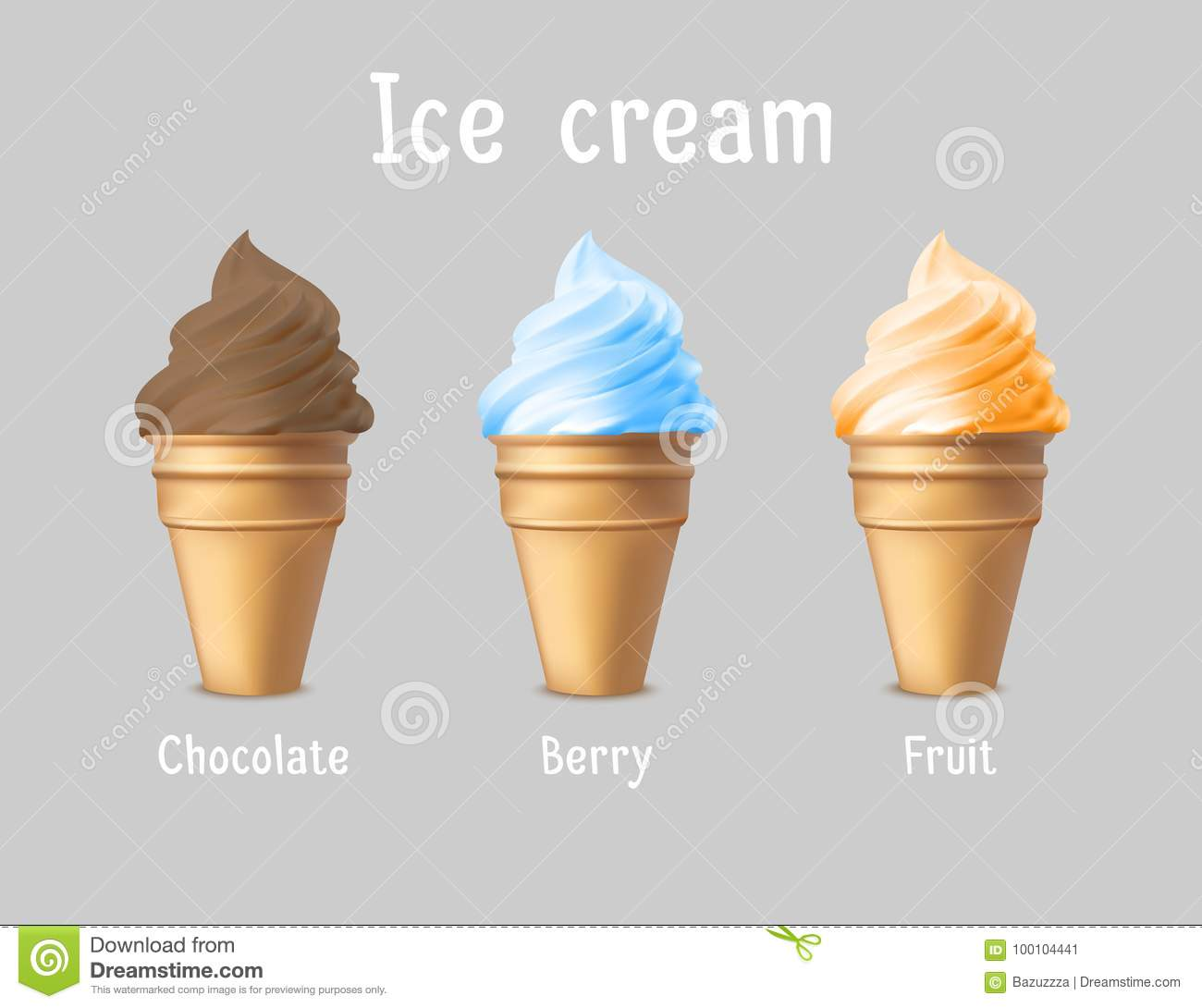 ice cream products ad vector 3d illustration ice cream cones
