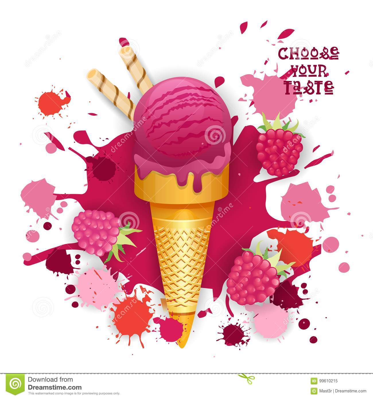 Ice Cream Raspberry Cone Colorful Dessert Icon Choose Your Taste Cafe Poster