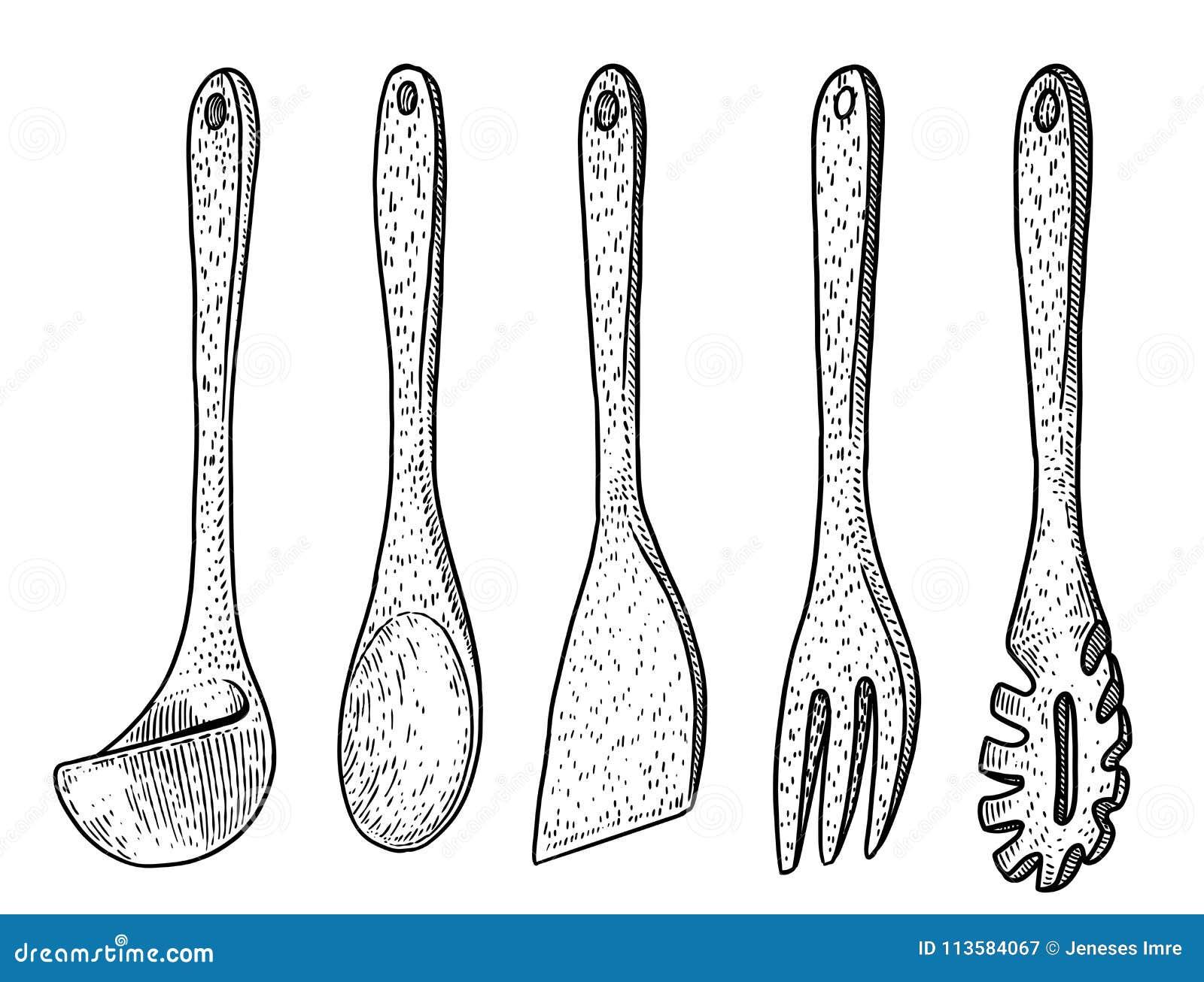 Ice Cream Scoop Spoon Illustration Drawing Engraving Line Art VectorWooden Kitchen Tool