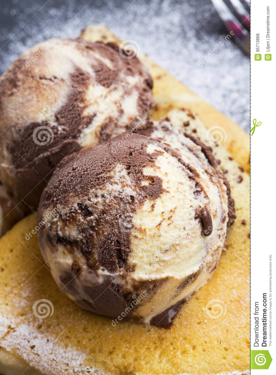 Ice Cream Scoops With Chocolate And Vanilla On Top Of Crepes T Asty Tasty Dessert