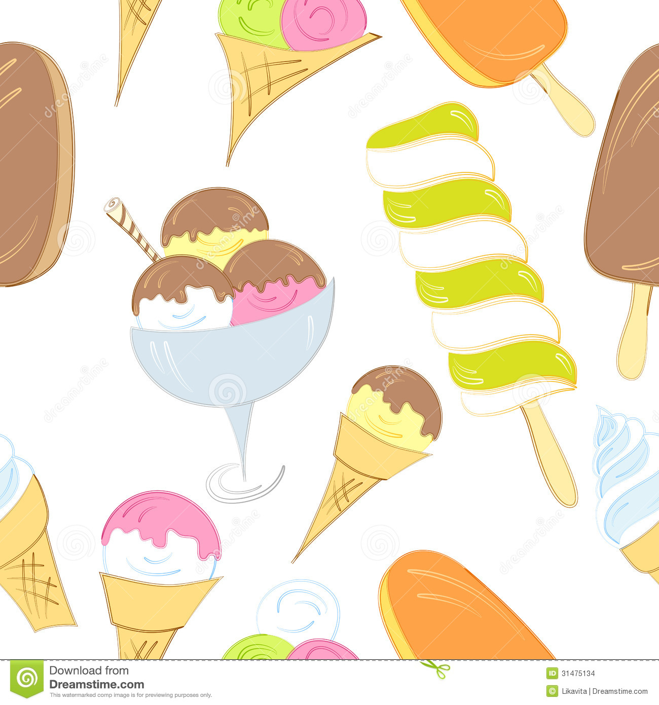 Seamless Ice Cream Wallpaper Royalty Free Stock Images: Ice Cream Seamless Pattern Stock Photo. Image Of Cream