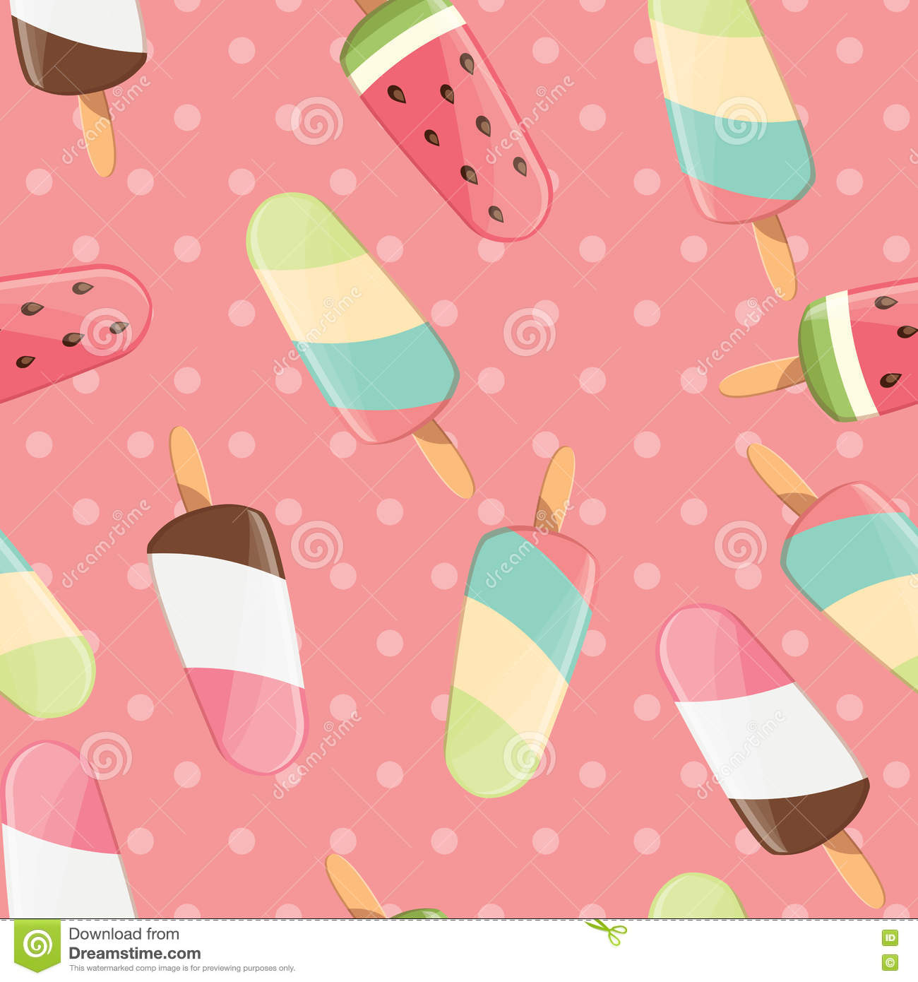 Sweet Ice Cream Flat Colorful Seamless Pattern Vector: Ice Cream Seamless Pattern, Colorful Summer Background