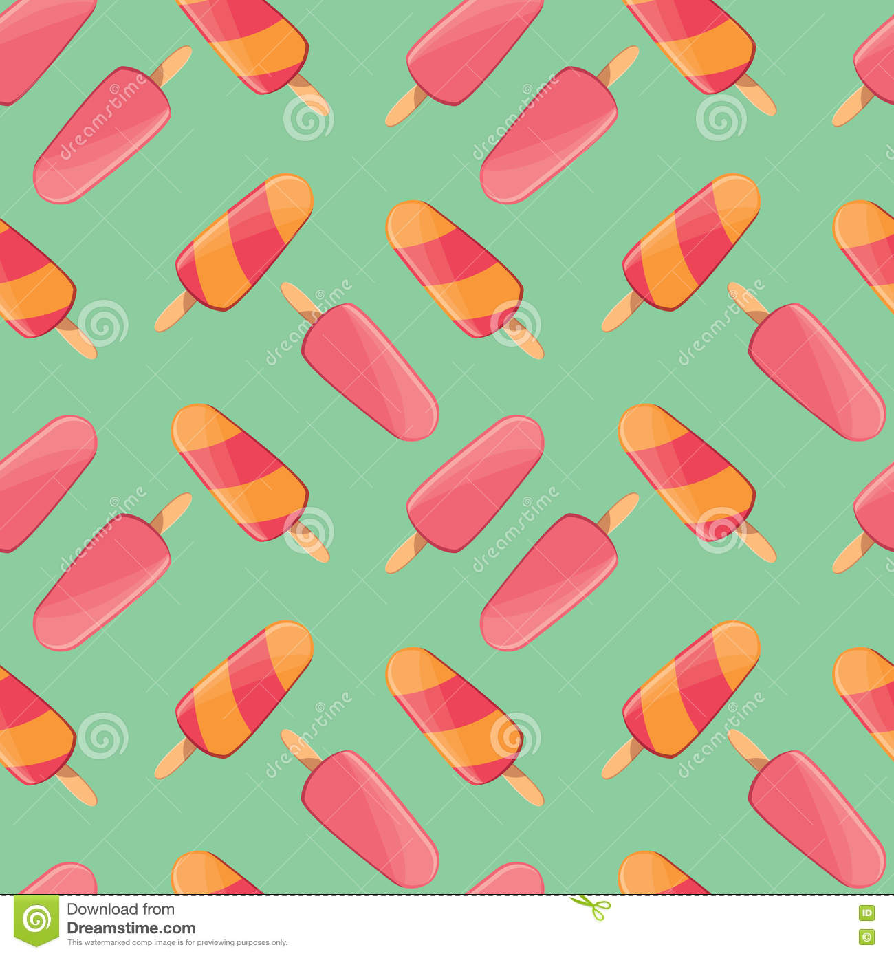 Fresh Ice Cream Stick In Summer Wallpaper Vector: Ice Cream Seamless Pattern, Colorful Summer Background