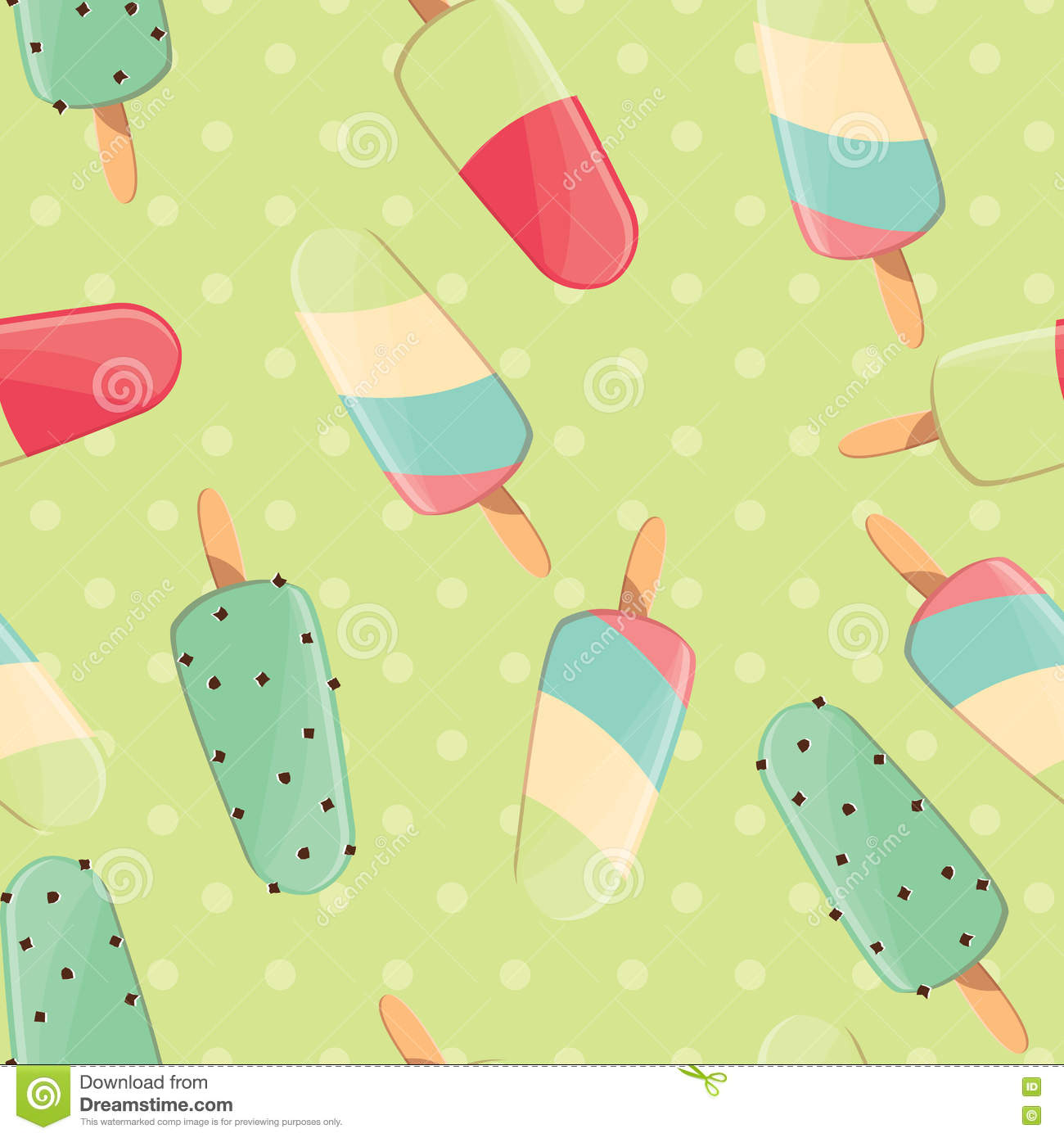 Ice cream seamless pattern, colorful summer background, delicious sweet treats