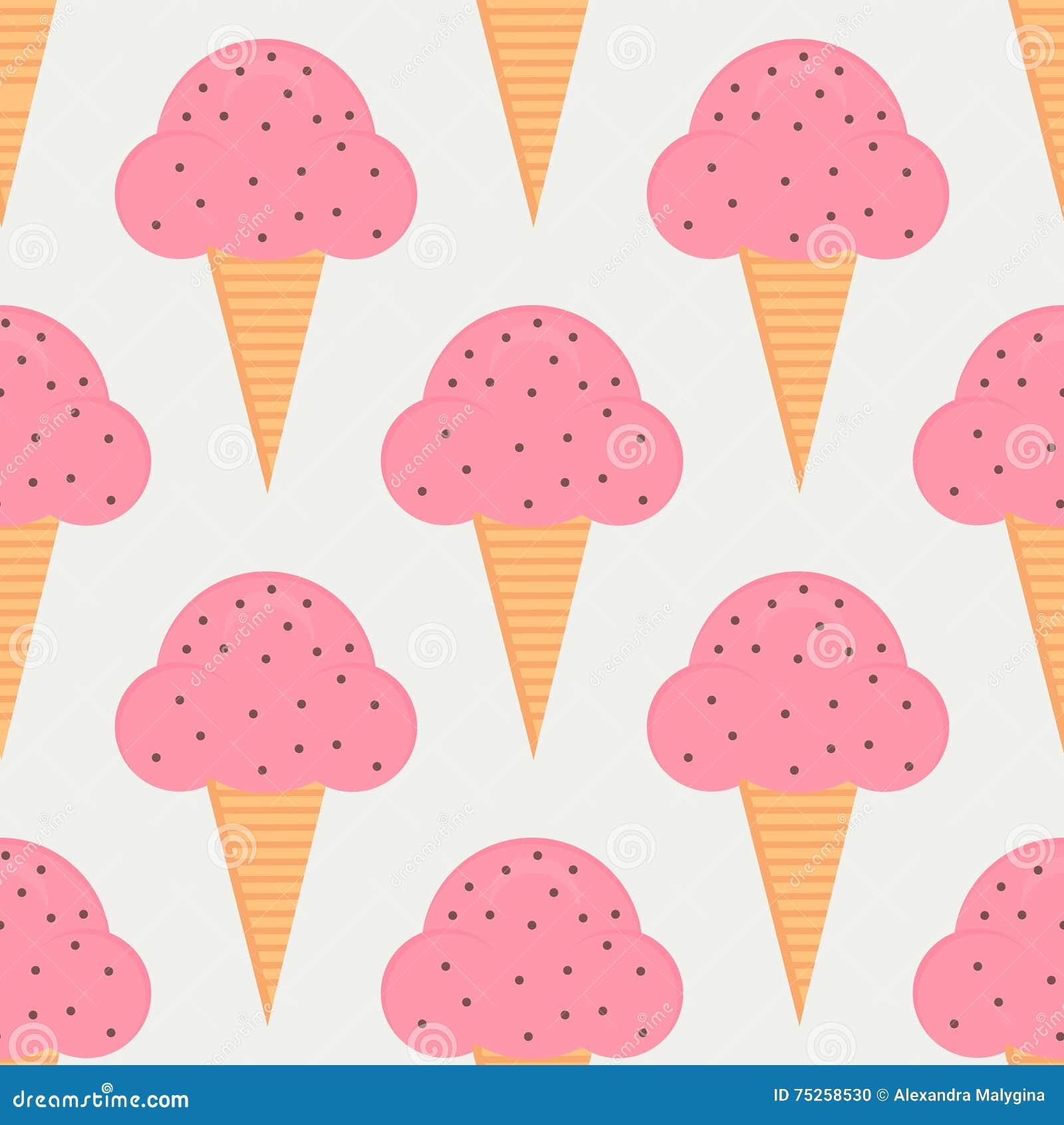 Ice Cream Cones Seamless Pattern Background Stock Vector: Ice Cream Seamless Pattern In Flat Style Stock Vector