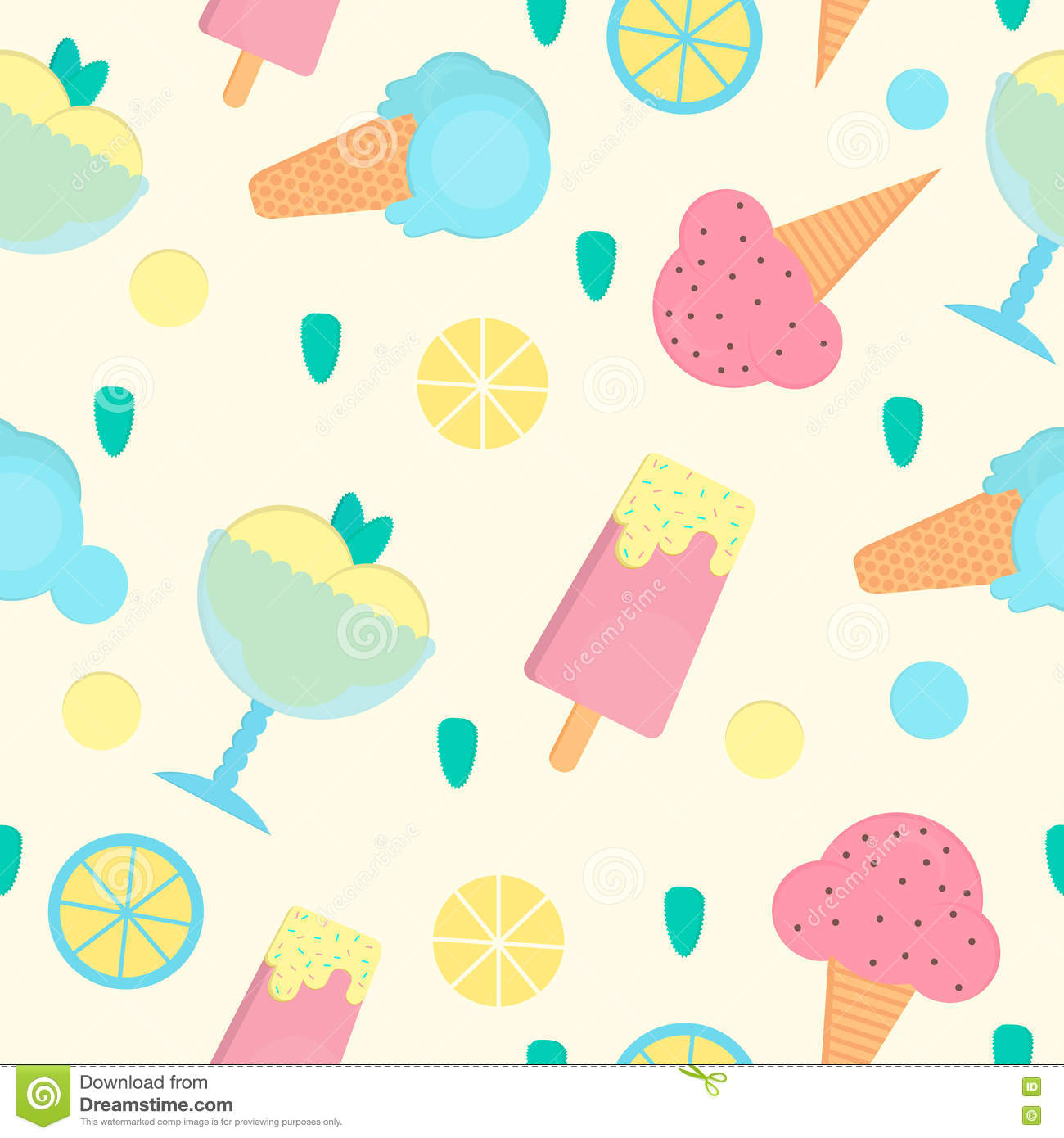 Sweet Ice Cream Flat Colorful Seamless Pattern Vector: Ice Cream Seamless Pattern In Flat Style. Vector