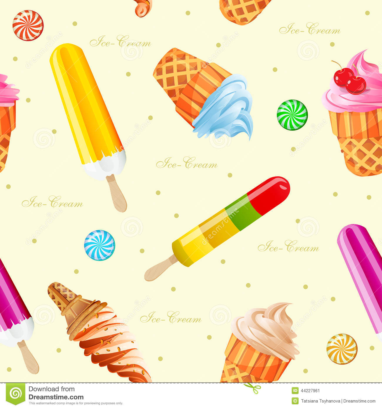 Seamless Ice Cream Wallpaper Royalty Free Stock Images: Ice-cream Seamless Pattern. Vector Illustration. Stock