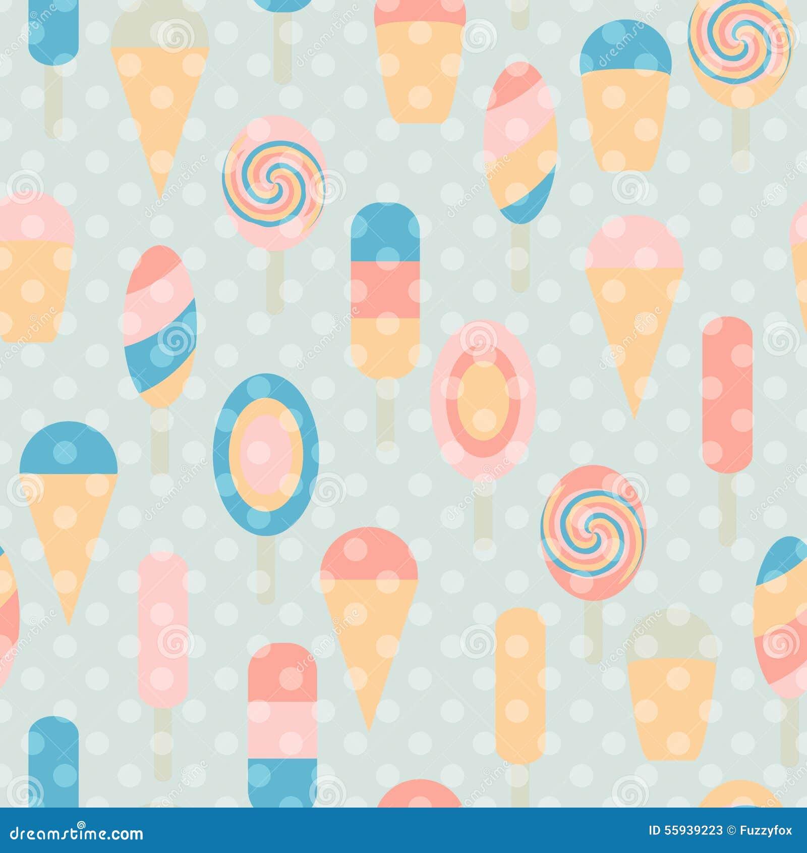 Seamless Ice Cream Background Vintage Style: Ice Cream Seamless Vintage Pattern