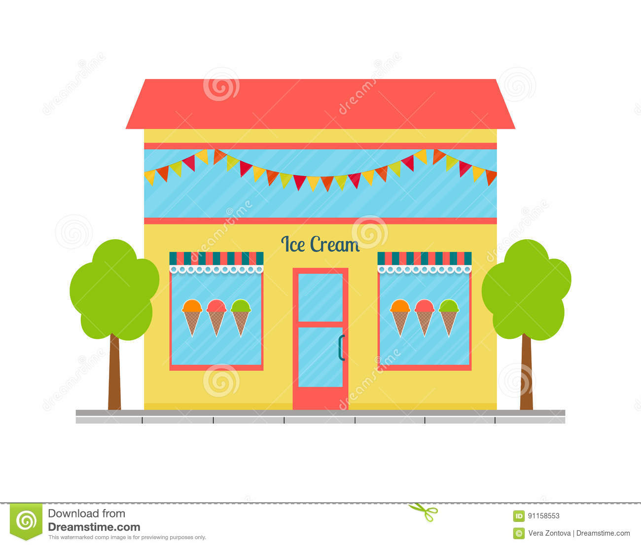 Vector Illustration Of Ice Cream Shop Building Cartoon