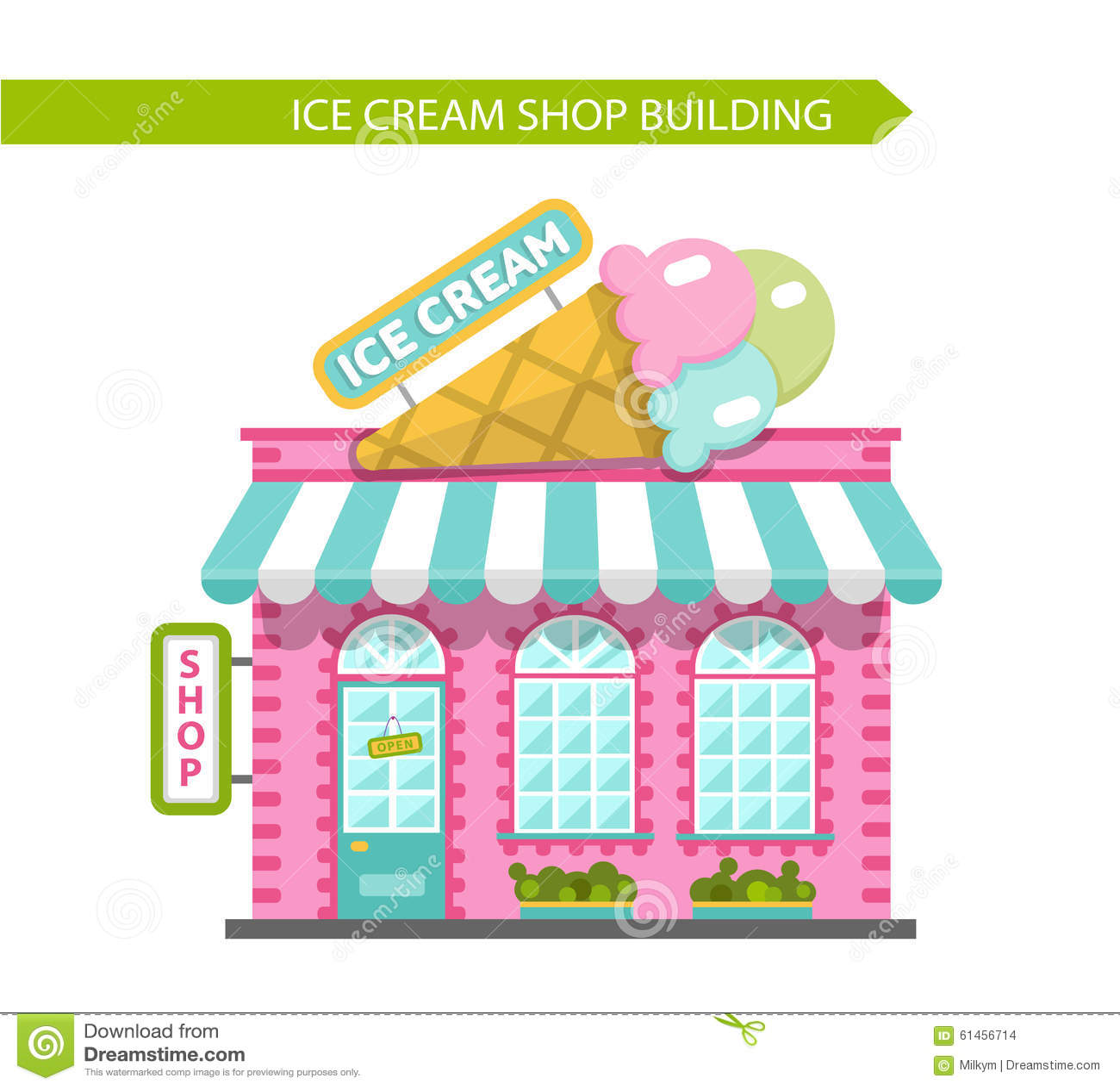 Popular Ice Cream Wallpaper Buy Cheap Ice Cream Wallpaper: Vector Illustration Of Ice Cream Shop Building Cartoon
