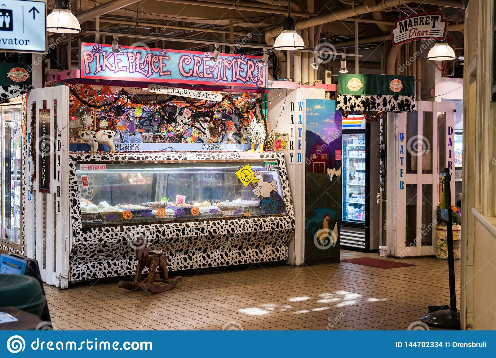 Ice cream shop inside Pike Market in Seattle, Washington, USA