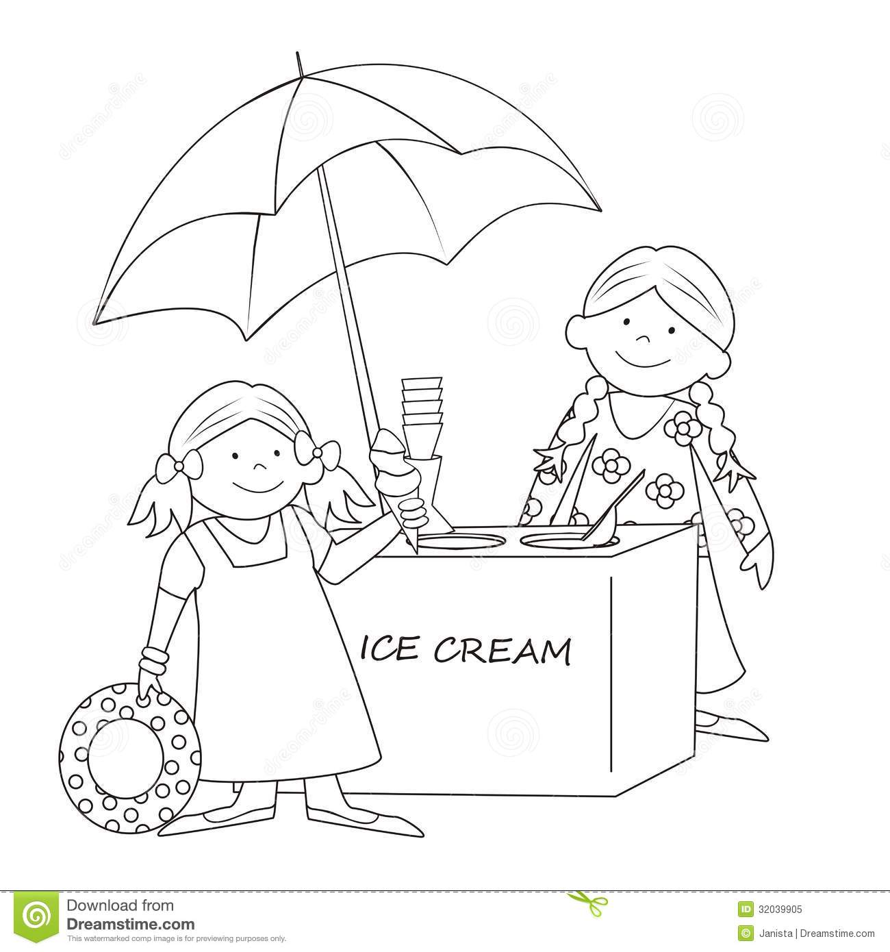 ice cream stand coloring pages - photo#5